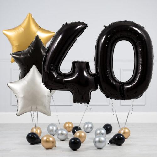 Комплект шаров Черный и Звезды Серебро Золото на 40 лет