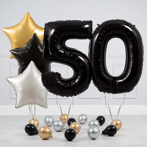 Комплект шаров Черный и Звезды Серебро Золото на 50 лет