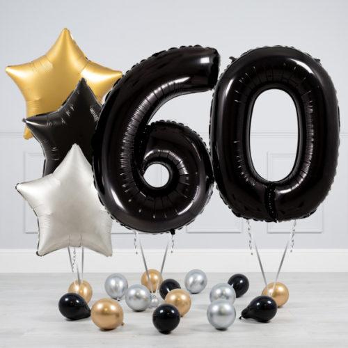 Комплект шаров Черный и Звезды Серебро Золото на 60 лет
