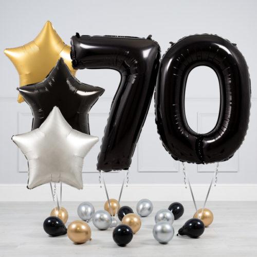Комплект шаров Черный и Звезды Серебро Золото на 70 лет
