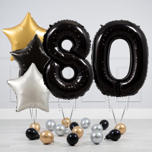 Комплект шаров Черный и Звезды Серебро Золото на 80 лет