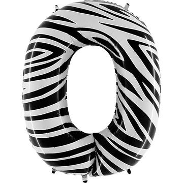 Шар 102 см Цифра 0 Zebra Зебра