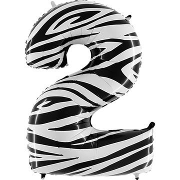 Шар 102 см Цифра 2 Zebra Зебра