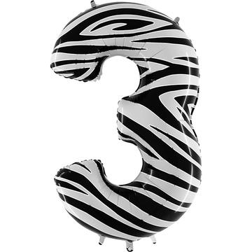 Шар 102 см Цифра 3 Zebra Зебра