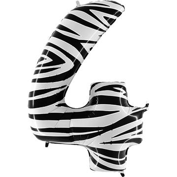Шар 102 см Цифра 4 Zebra Зебра