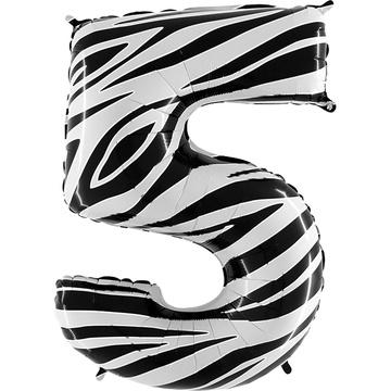 Шар 102 см Цифра 5 Zebra Зебра