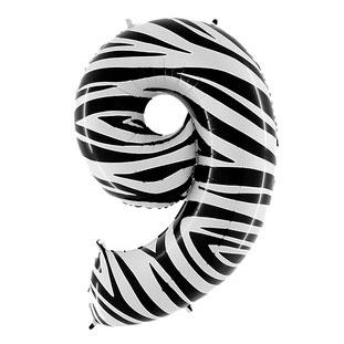Шар 102 см Цифра 9 Zebra Зебра