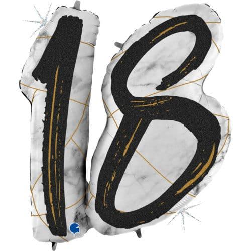 Шар 112 см Цифра 18 Мрамор Калакатта Черный Голография
