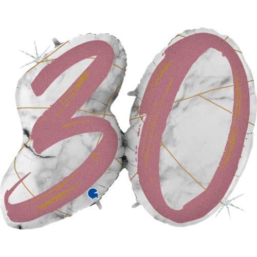 Шар 112 см Цифра 30 Мрамор Калакатта Розовое Золото Голография