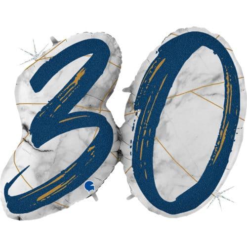 Шар 112 см Цифра 30 Мрамор Калакатта Синий Голография
