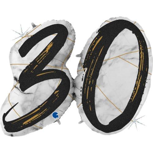 Шар 112 см Цифра 30 Мрамор Калакатта Черный Голография