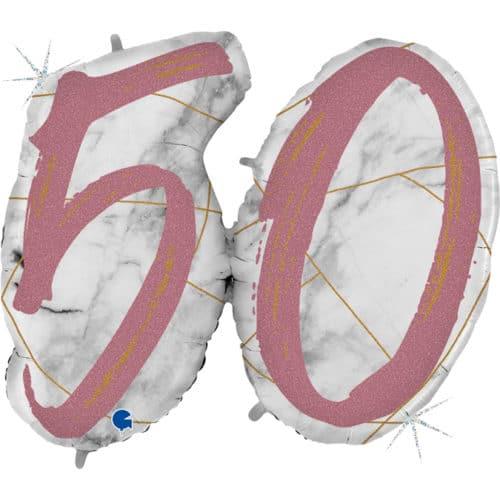 Шар 112 см Цифра 50 Мрамор Калакатта Розовое Золото Голография