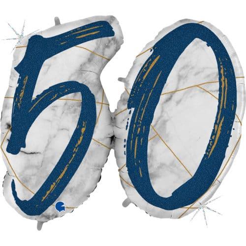 Шар 112 см Цифра 50 Мрамор Калакатта Синий Голография