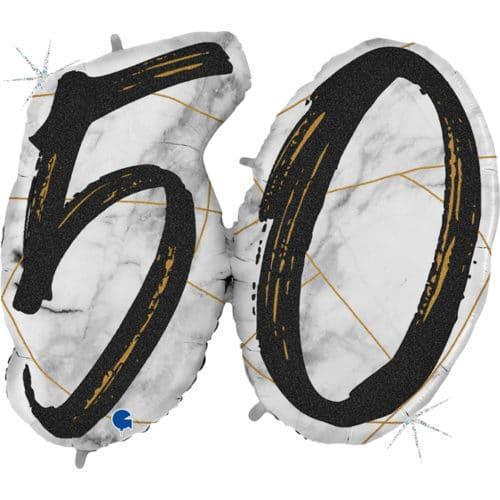 Шар 112 см Цифра 50 Мрамор Калакатта Черный Голография