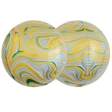 Шар 38 см 3D СФЕРА Мрамор Yellow