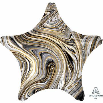 Шар 46 см Звезда Мрамор Black