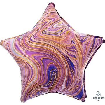 Шар 46 см Звезда Мрамор Purple