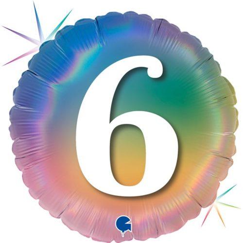Шар 46 см Круг 6 Цифра Радужный Голография