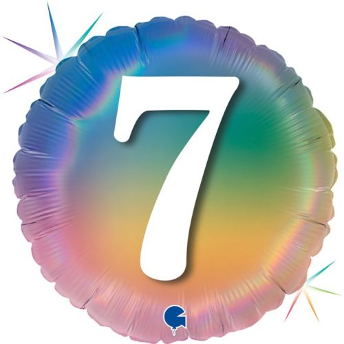 Шар 46 см Круг 7 Цифра Радужный Голография