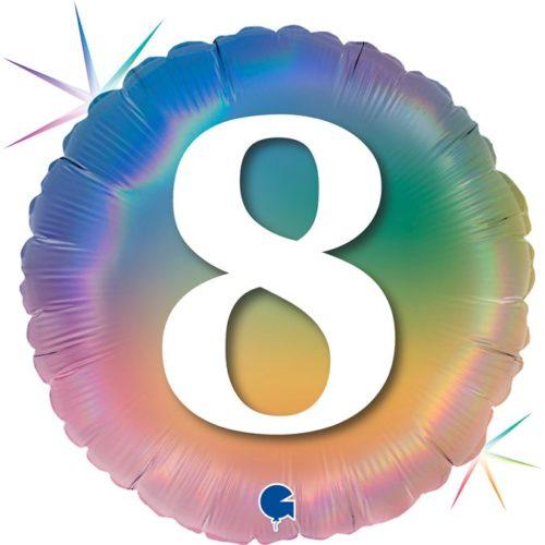 Шар 46 см Круг 8 Цифра Радужный Голография