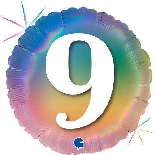 Шар 46 см Круг 9 Цифра Радужный Голография