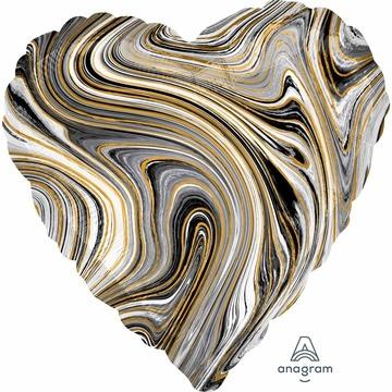 Шар 46 см Сердце Мрамор Black