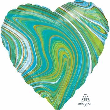 Шар 46 см Сердце Мрамор Blue Green