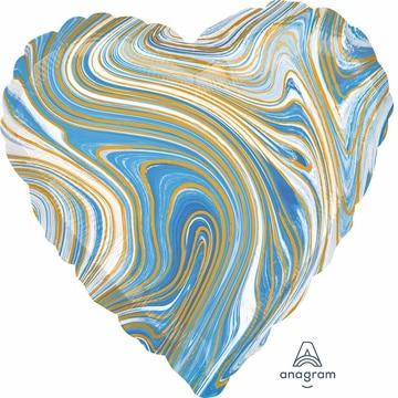 Шар 46 см Сердце Мрамор Blue