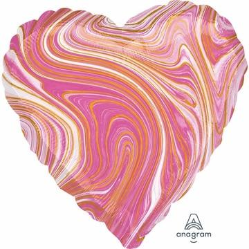 Шар 46 см Сердце Мрамор Pink