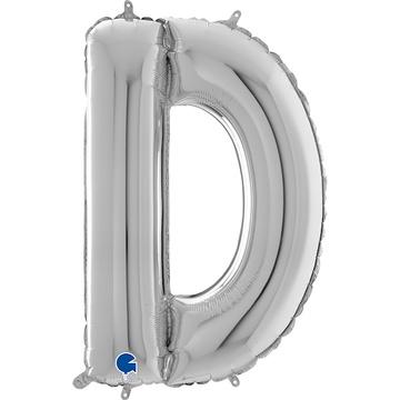 Шар 66 см Буква D Серебро