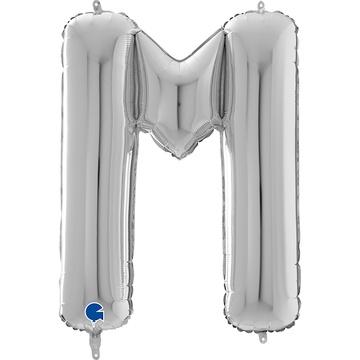 Шар 66 см Буква M Серебро