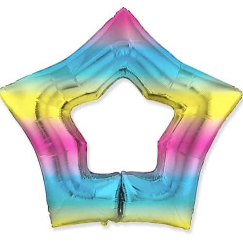 Шар 94 см Фигура Звезда Контур Диагональная радуга Градиент