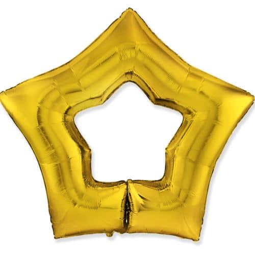 Шар 94 см Фигура Звезда Контур Золото