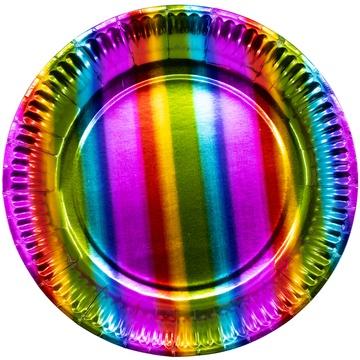 Тарелка 17 см фольга Радуга 6 штук