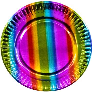 Тарелка 23 см фольга Радуга 6 штук