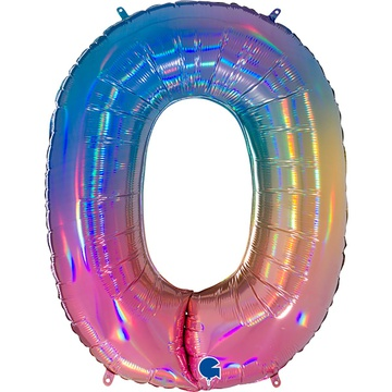 Шар 102 см Цифра 0 Радуга переливы
