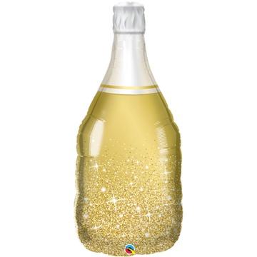 Шар 99 см Фигура Бутылка шампанского золотая