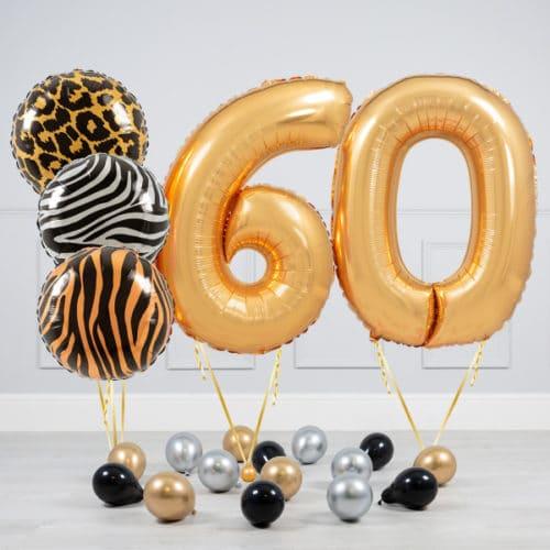 Комплект шаров Сафари и Золото на 60 лет