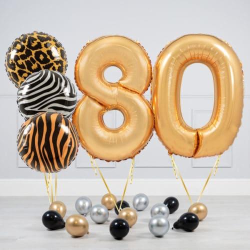 Комплект шаров Сафари и Золото на 80 лет