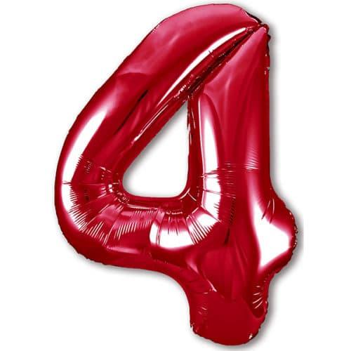 Шар 102 см Цифра 4 Slim Красный