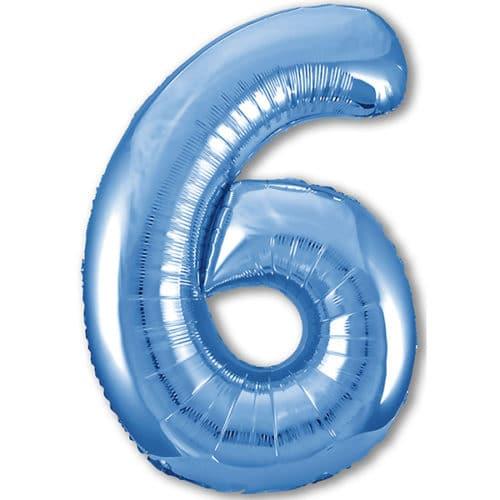 Шар 102 см Цифра 6 Slim Синий