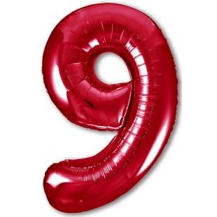 Шар 102 см Цифра 9 Slim Красный