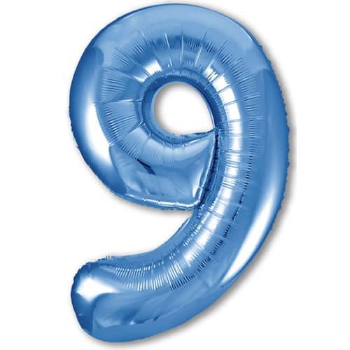 Шар 102 см Цифра 9 Slim Синий