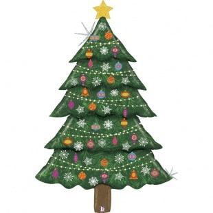 Шар 152 см Фигура Новогодняя елка Голография