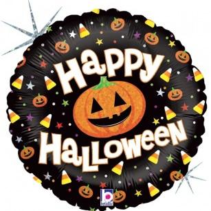 Шар 46 см Круг Тыквы на Хэллоуин Черный Голография