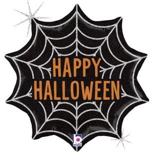 Шар 46 см Фигура Паутинка на Хэллоуин Черный Голография