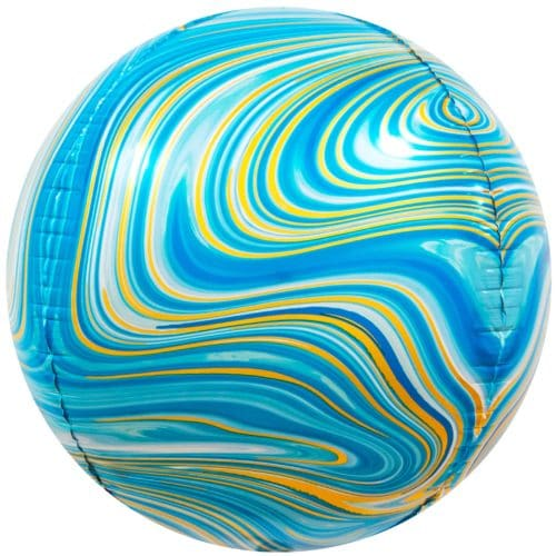 Шар 61 см Сфера 3D Мраморная иллюзия Голубой Агат