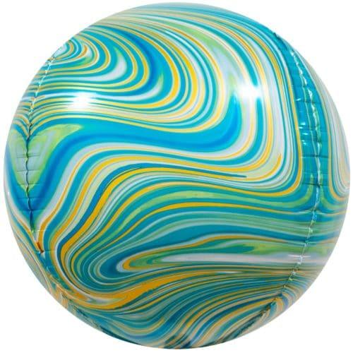 Шар 61 см Сфера 3D Мраморная иллюзия Зеленый Агат