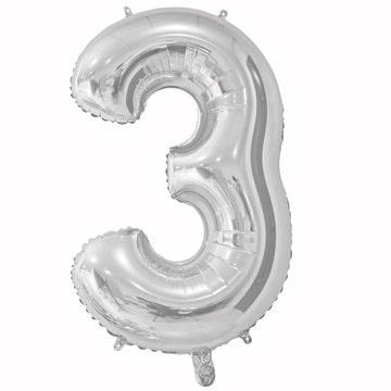 Шар 66 см Цифра 3 Серебро