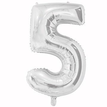 Шар 66 см Цифра 5 Серебро